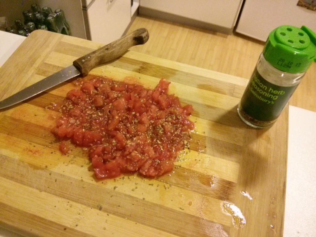 Kefir kekimiz için domates harcı